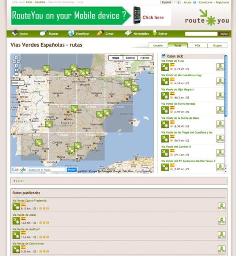 grupo de Vías Verdes Españolas en Routeyou