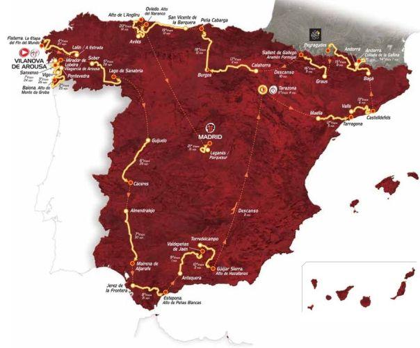 Mapa del recorrido de La Vuelta Ciclista a España 2013