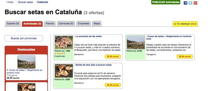 Buscar setas en Catalunya