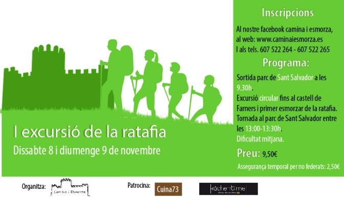 1ª Excursió de la Ratafia de Santa Coloma, 8 o 9 de Novembre