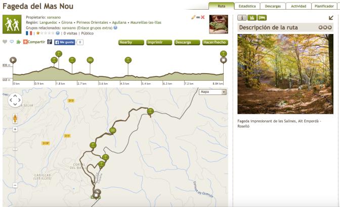 ruta track fageda del Mas Nou